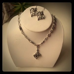 "Brighton Necklace & Earrings Set Silver 18"" chain"